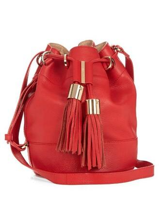 cross bag bucket bag leather red