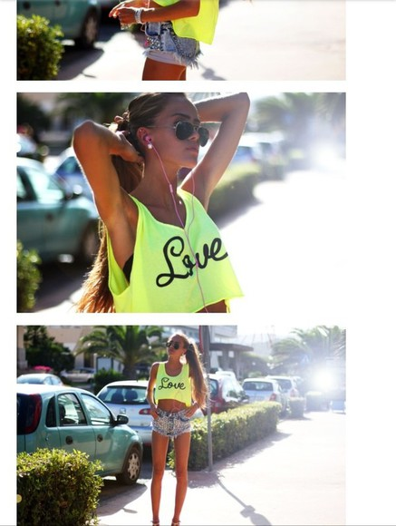 shirt love neon cropped top summer top top