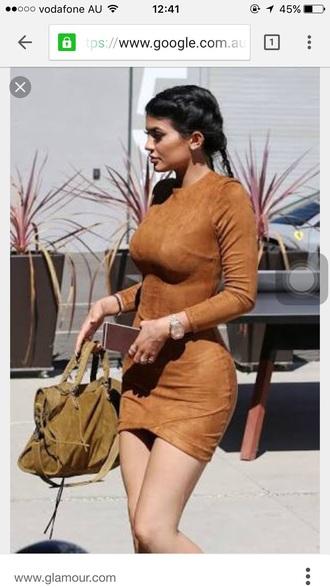 dress kylie jenner kylie dress tan brown dress bodycon dress