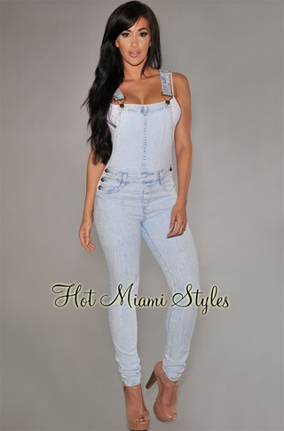 Light Acid Wash Denim Fitted Overall