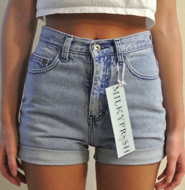 denim denim shorts cuffed shorts High waisted shorts light blue shorts jeans milkyfresh short