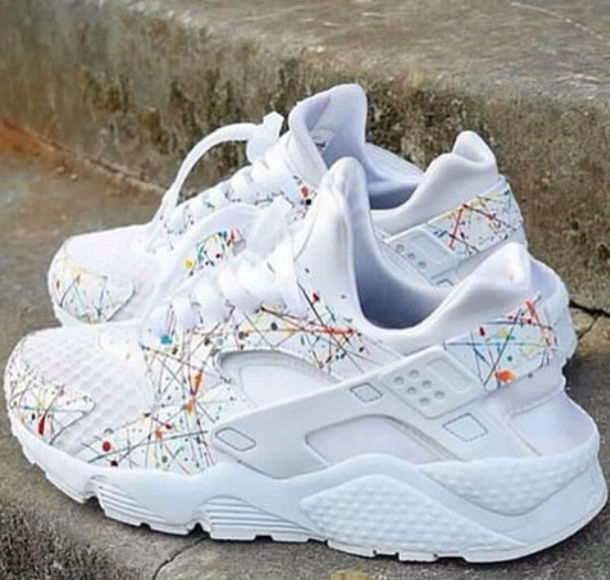 finest selection f02dd 16bc2 nike shoes white sneakers huarache shoes white nike sneakers sneakers  colorful