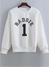 sweater,crewneck,white,baddies,sweatshirt