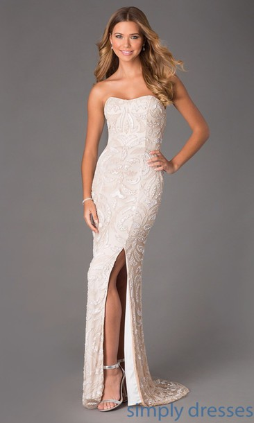 Long White Sequin Prom Dress - Ocodea.com