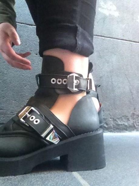 shoes black combat jamjars silver boots platform shoes
