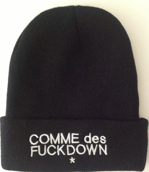 Comme des F Down Beanie With Custom Embroidery by TheCoutumeShop
