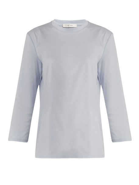 t-shirt shirt t-shirt cotton light blue light blue top