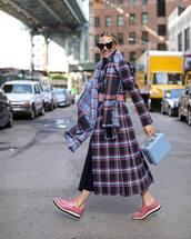 coat,wool coat,plaid,long coat,shoes,scarf,heart sunglasses,handbag