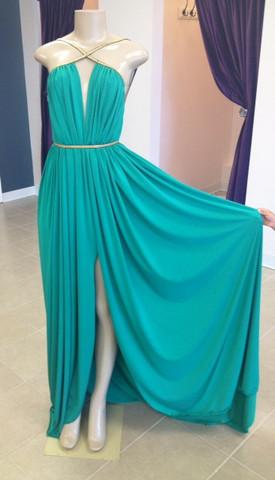 Michael costello draped goddess dress in green