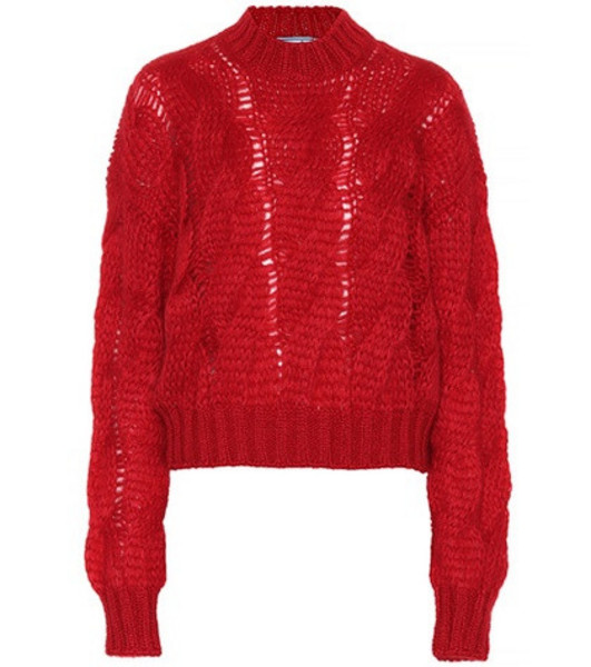Prada Mohair-blend sweater in red