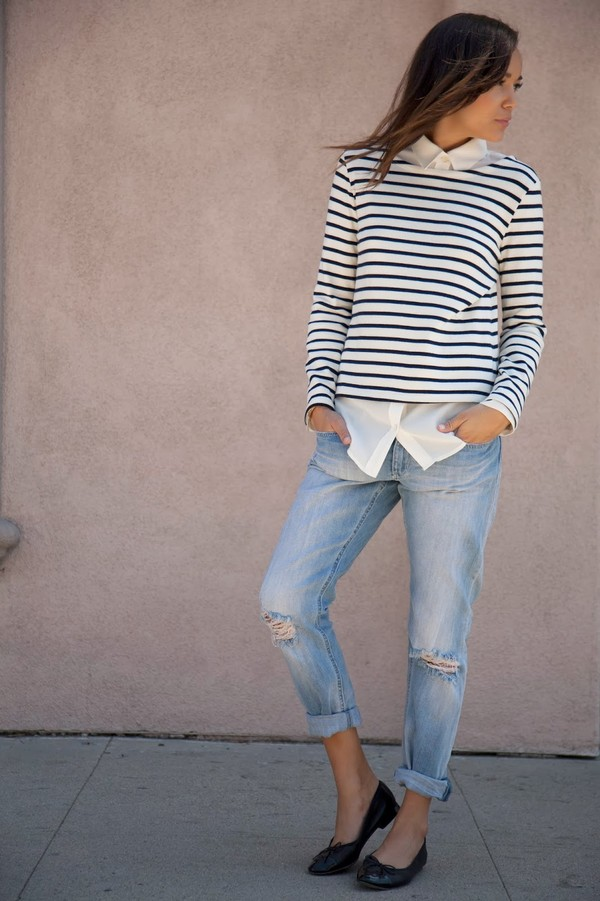 ring my bell jeans shirt t-shirt white stripes blue longarms