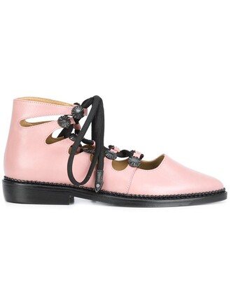 women shoes lace-up shoes lace leather purple pink