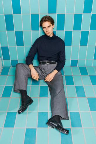 mikko puttonen blogger sunglasses coat jeans sweater belt pants shoes