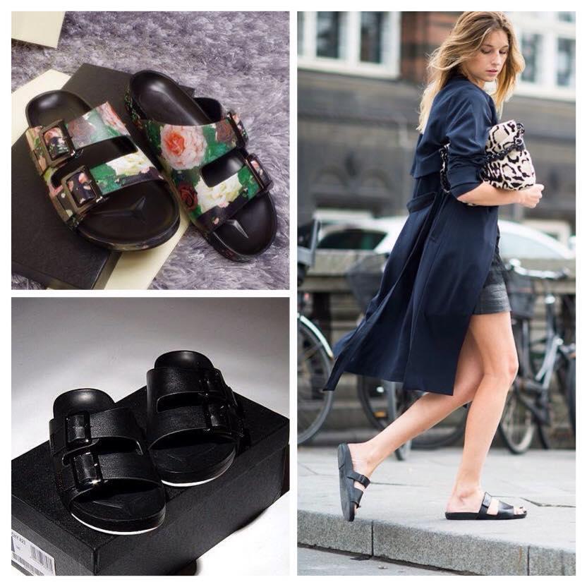Celebrity inspired leather slides floral rose or black from tumblr fashion on storenvy