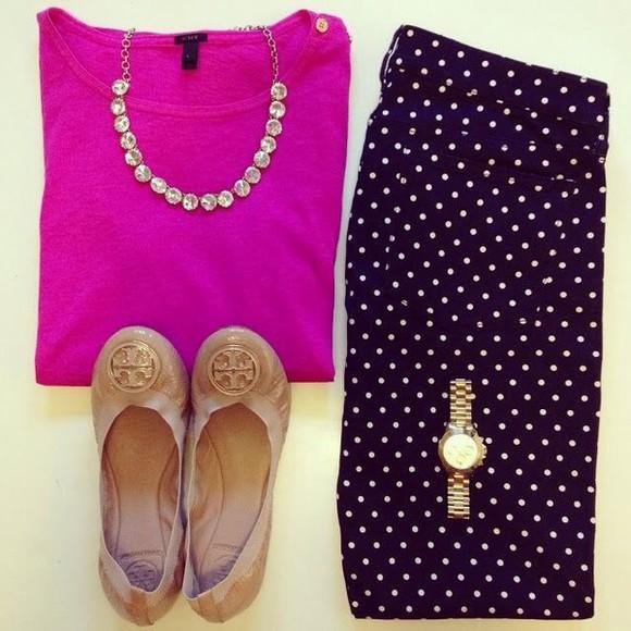 polka dot blouse purple