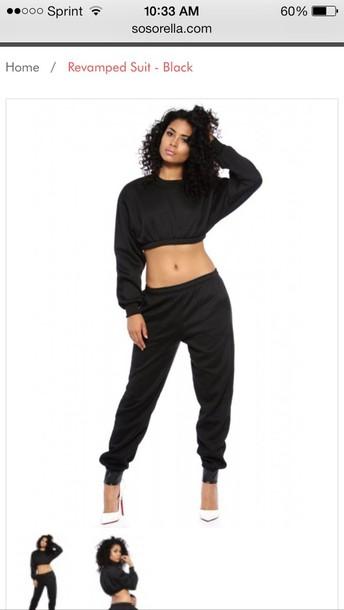 1bfa3401a2686 pants sweater jumpsuit sweatshirt swag streetwear dope top black white crop  tops crop top black crop