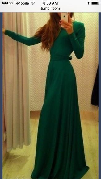 maxi dress long sleeve dress forest green