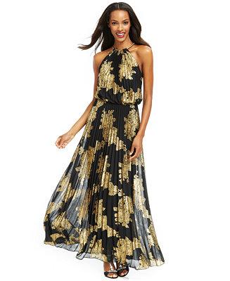 Metallic-Print Halter Gown - Dresses - Women - Macy\'s