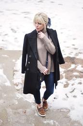 love maegan,blogger,long coat,black coat,leopard print,vans,skinny jeans,turtleneck