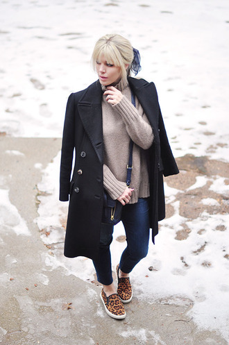love maegan blogger long coat black coat leopard print vans skinny jeans turtleneck