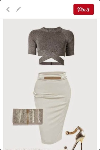 top grey skirt white gold gold belt midi skirt pencil skirt bodycon tight cute outfits cute top crop tops grey top white skirt cut out crop top