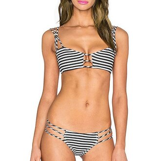 swimwear bikini stripes tan summer beach sexy rose wholesale-ap