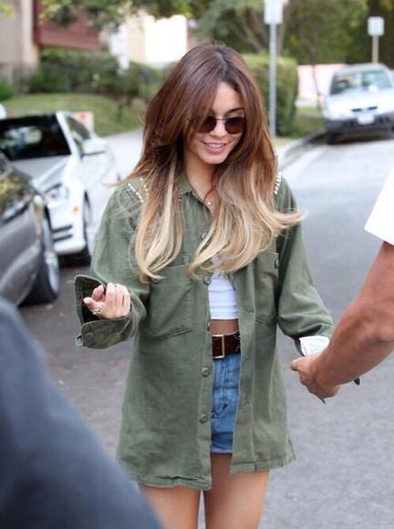 jacket green jacket vannessa hudgens army green jacket studs high wasted shorts crop tops