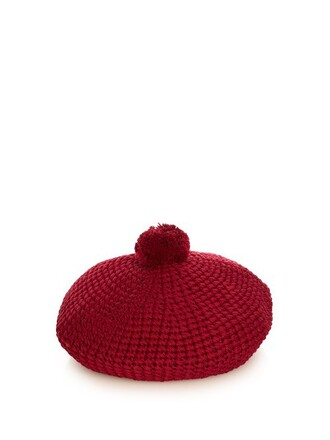 knit beret cotton burgundy hat