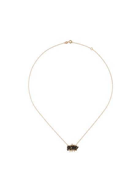 Diane Kordas rose gold rose women necklace diamond necklace gold black jewels