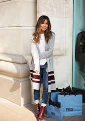 cardigan,tumblr,long cardigan,grey cardigan,denim,jeans,blue jeans,cuffed jeans,boots,red boots,burgundy,ankle boots,high heels boots,top,white top,crescent pendant,pendant,necklace,gold necklace,gold jewelry,jewels,jewelry,sincerely jules,blogger