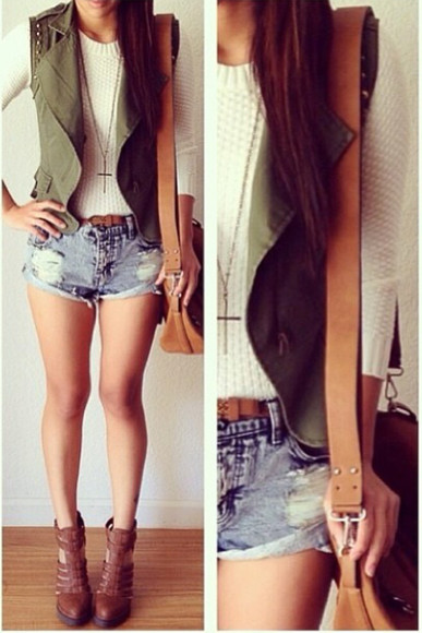 vest shoes brown sandals brown booties olive green ivory ivory top