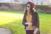 temporary secretary,hat,scarf,t-shirt,jacket,jeans,bag,sunglasses,lemongrass