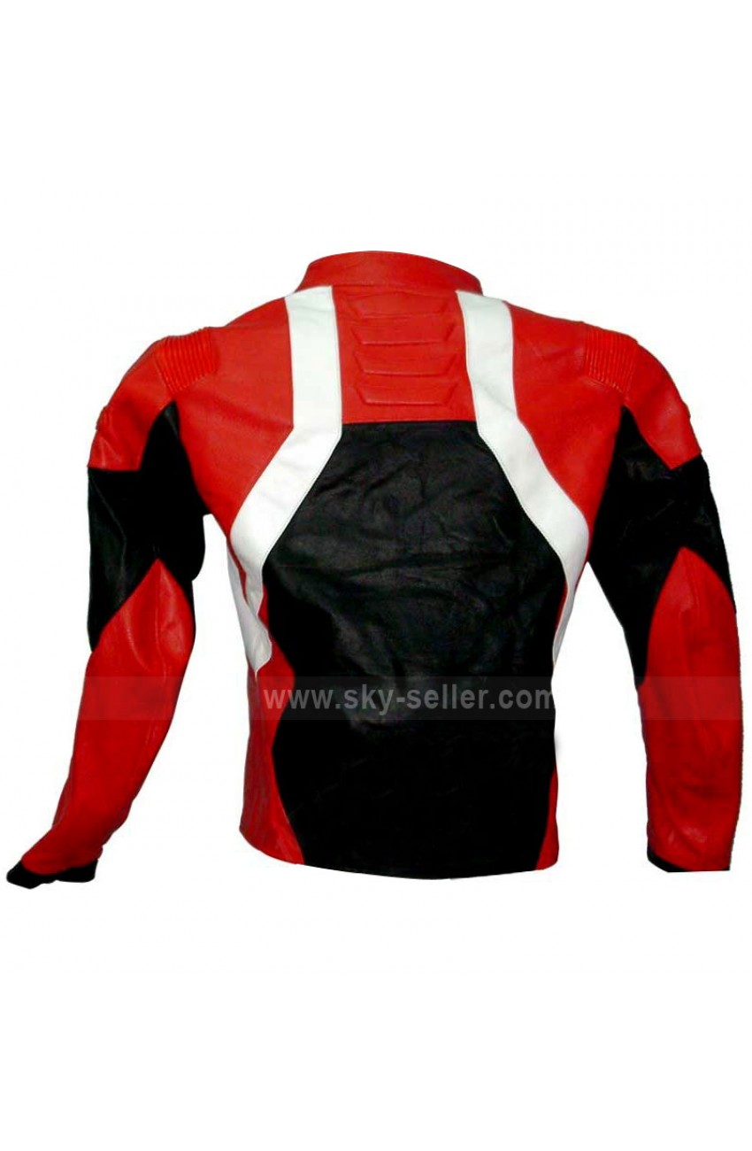 Red and black unisex leather motorcycle jacket