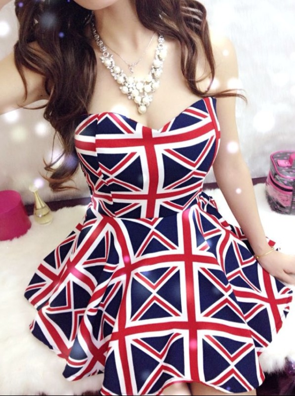 2014 Latest Fashion Trend of Woman Bandeau Dress with Asymmetric Hem Evening British Flag & Leopard Sexy Party Dress 1122H on Aliexpress.com