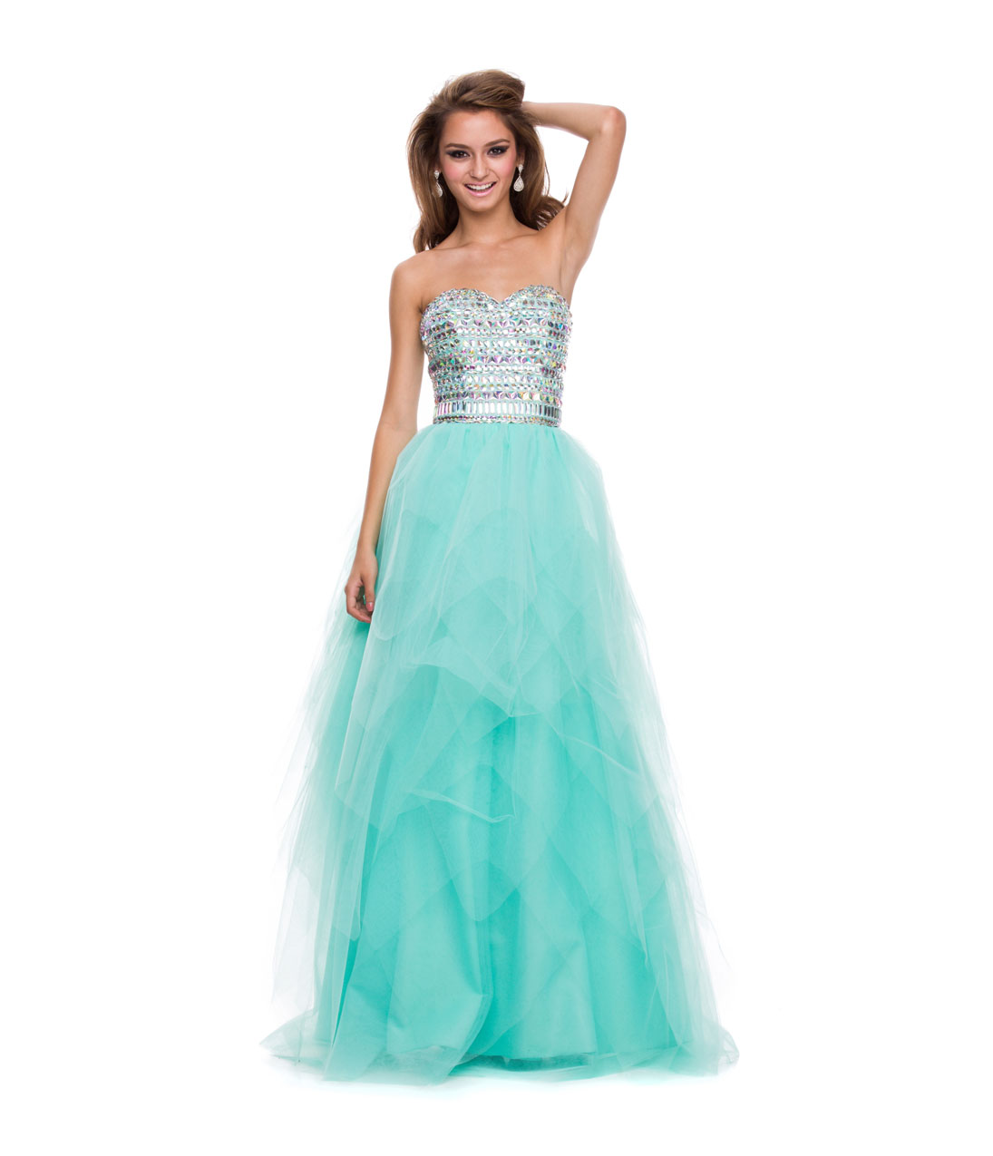 Prom Dresses - Mint Green Tulle & Stone Strapless Gown - Unique ...