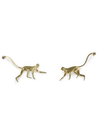 metallic women monkey earrings stud earrings jewels