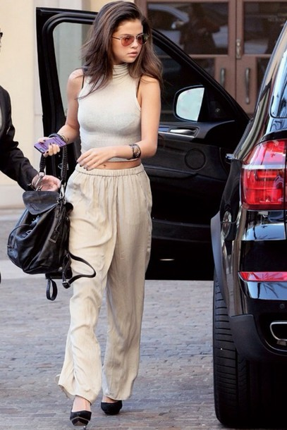 shirt baggy pants beige nude cream crop tops coachella selena gomez pants
