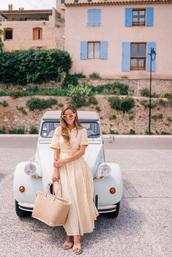dress,sunglasses,tumblr,yellow,yellow dress,maxi dress,long dress,button up,bag,woven bag,sandals,sandal heels