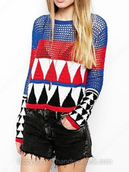 white red black red white and blue sweater pullover blue geometric geometric print triangle print mesh sweater holey sweater