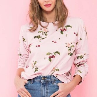 blouse yeah bunny cherry sweatshirt cute fruits pastel