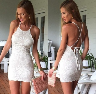 dress lace beige ivory backless bodycon boho party dressy criss cross