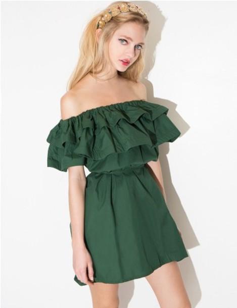 39a47f8f8c9a dress green summer cute summer dress off the shoulder off the shoulder  dress green dress cute
