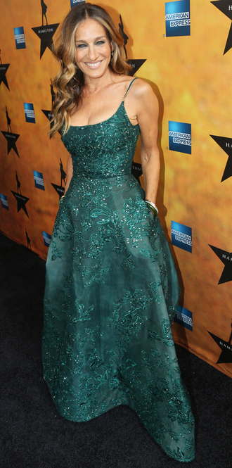 dress gown emerald green sarah jessica parker prom dress
