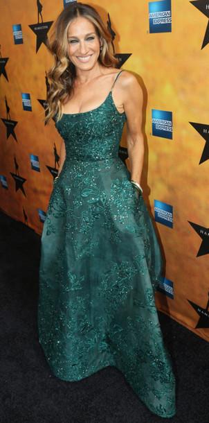 dress gown emerald green sarah jessica parker prom dress