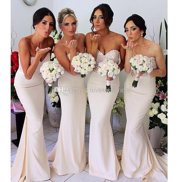 Cheap Cheap Bridesmaid Dress - Discount Hot Sale White Mermaid Bridesmaid Dresses Sequins Beads Online with $90.06/Piece | DHgate
