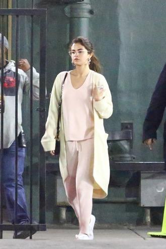 top selena gomez pink top pink pants pants