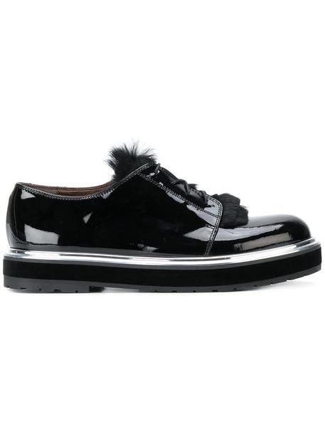 fur women shoes lace-up shoes lace leather black