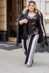 natalieinthecity,blogger,pants,gloves,tank top,top,jacket,cape,spring outfits,curvy,sequin top