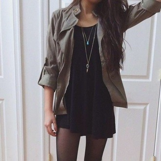 jacket fall or winter army green jacket fashion lether dress jewels