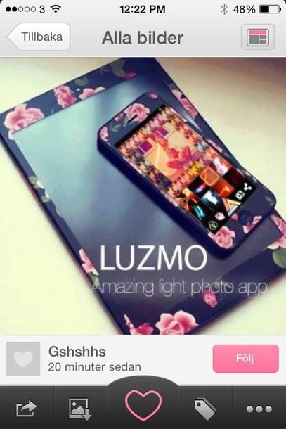 bag ipad case flowers black pink green matte iphone case